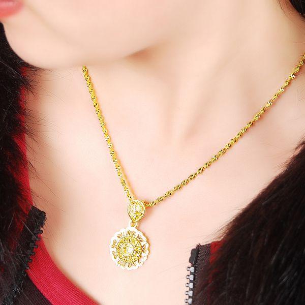 Women's Luxury 24K Pendant Yellow Gold Color Necklace Exquisite Design Super Quality Wholesale Accessories for Wedding Trinket