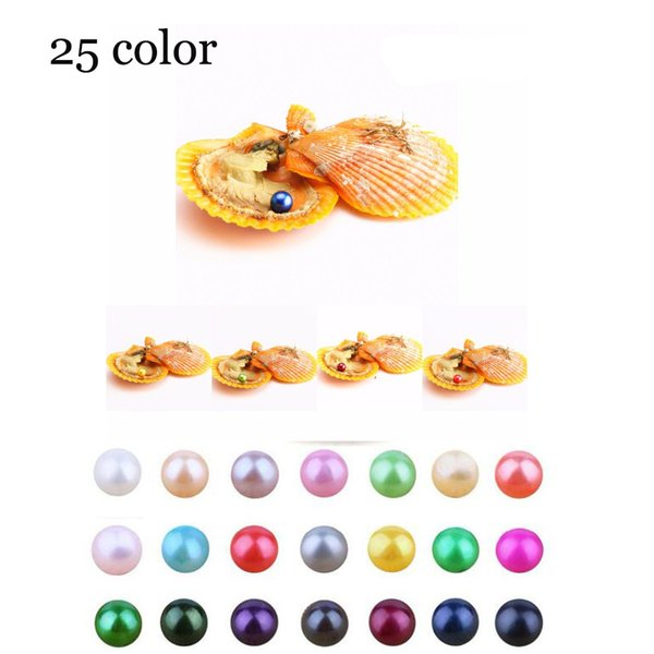Free shipping 2018 round akoya oyster Jewelry 6-7 mm 25color Rainbow shells Seawater rice pearl oyster as mystery gift with Vacuum Package