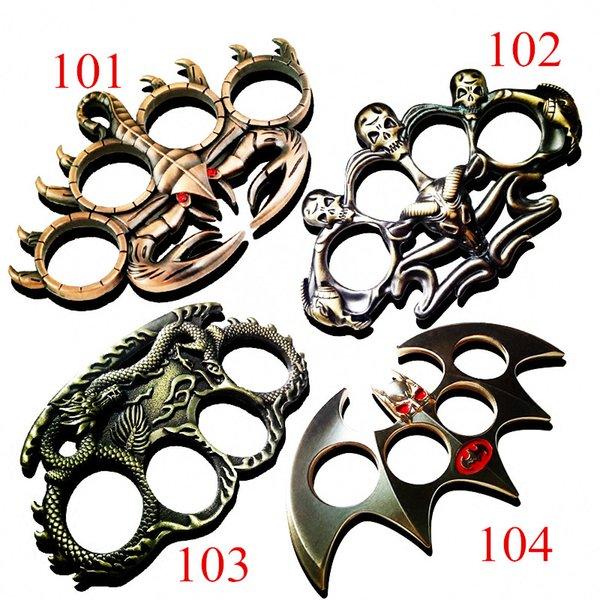 Gothic Stainless steel portable multifunctional four finger boxing protective Knuckle Dusters ring