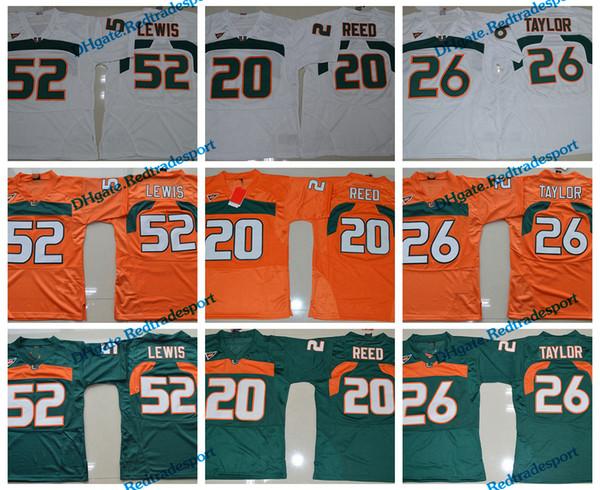 Mens Miami Hurricanes College-Fußball-Trikots Vintage Orange 26 Sean Taylor Ray Lewis 52 R.Lewis 20 Ed Reed University Football Hemden