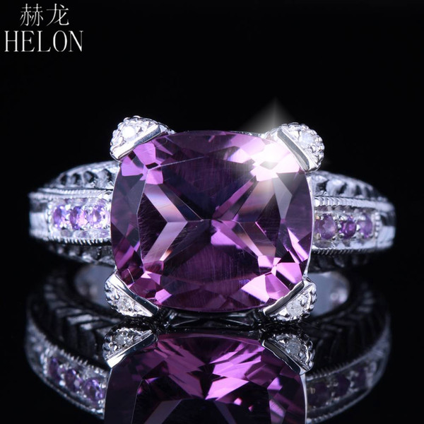 HELON Sólido 10K Oro Blanco 6CT Cushion Cut Flawless Genuino Amatista Anillo de Diamantes Naturales Para Las Mujeres Partido Joyería Fina de La Vendimia