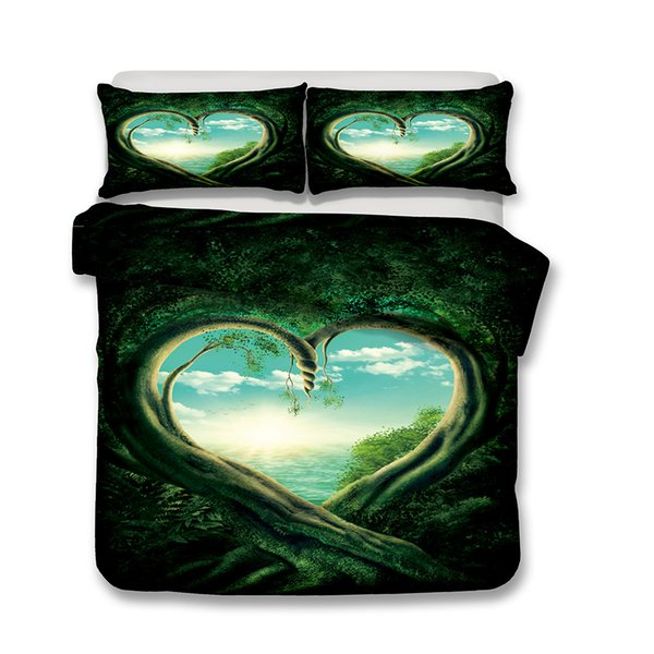 New 3D Missing You par Scandy Girl ensemble de literie Howling Wolf Housse de couette avec taie d'oreiller Forest Bed Set Art Print Bedclothes Queen