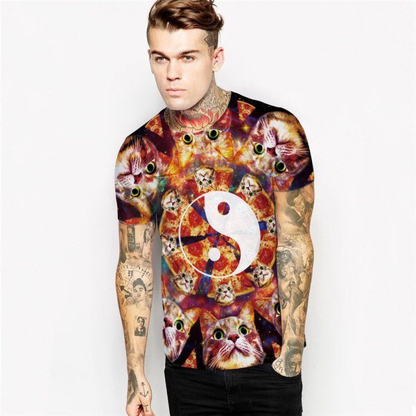 Wholesale Free Shipping Wholesale Free Shipping Couple Funny Food Pizza Cat 3D Sublimation Print t-shirt Casual Cotton Top