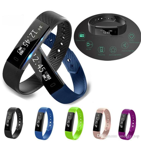 Fitness Tracker Smart Bracelet ID115 Bluetooth Smart Watch Activité Tracker Calorie Counter Wireless Sleep Monitor Pour IOS Android Téléphone