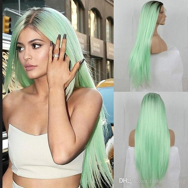Fashion Ombre Mint Green Wig Long Silky Straight Lace Front Hair 180% Density Natural Hairline Black to Green Synthetic Wig Heat Resistant
