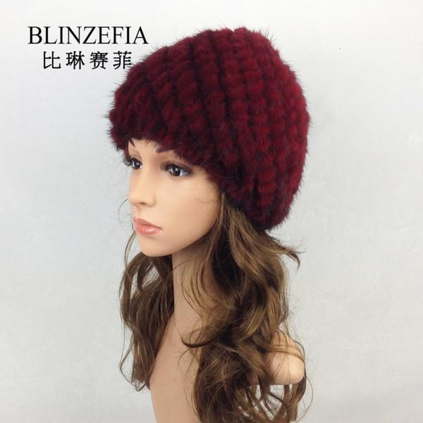 2019 Fashion Real  Winter Women Hats Gorro Invierno Lady Russian Pineapple  Fur Beanies Cap Bonnet Fille BZ6001