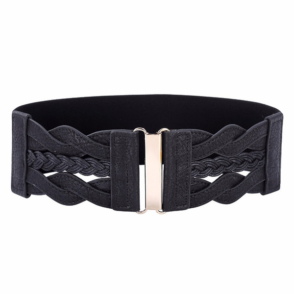 Women Ladies Girls Fashion Wide Braided Polyurethane Leather Black Stretchy Waistband Elastic Waist Belt Factory Wholesale Order 3 Pcs More