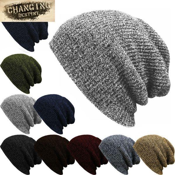 Hat Chunky Laine Câble Tricot Baggy Slouch Pom Pompon Bonnet à Rayures Polaire Doublé