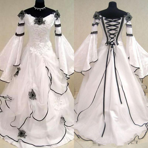Vintage Black and White Medieval Wedding Dresses For Arabic Women Celtic Renaissance Bridal Gowns with Fit and Flare Sleeves Flowers Cheap