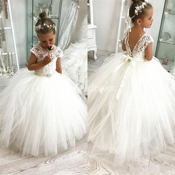 White Ball Gown Flower Girl Dresses For Weddings Jewel Backless Short Sleeve Sash Beading First Communion Dress Child Birthday Party Gowns