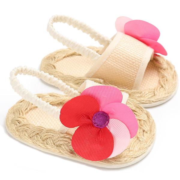 f654b59c38fee Cute Flower Baby Girls Sandals Newborn Soft Straw Braid Shoes For Infants  Outdoor First Walker Summer Crochet Baby Flat Sandals Boys Sneakers Sale ...
