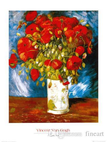 hand-painted oil wall art red poppies floral artwork vincent van gogh famous paintings reproduction living room decorations pictures