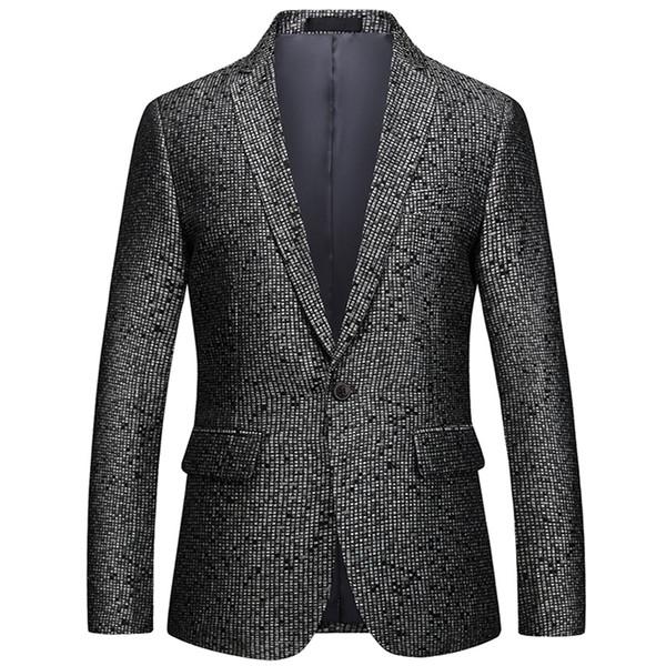 Loldeal Hommes Slim Fit Noir Jacquard Blazer Classic Suit Veste Hommes d'affaires casual unique petit costume
