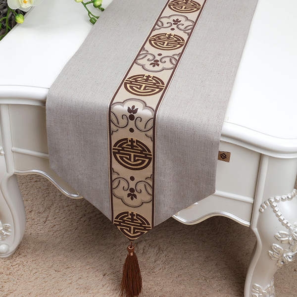 Latest Chinese Lace Cotton Linen Table Runner High End Decorative Rectangle Coffee Table Cloth Classic Dining Table Mat 180 X 33 Cm 36 Inch Table