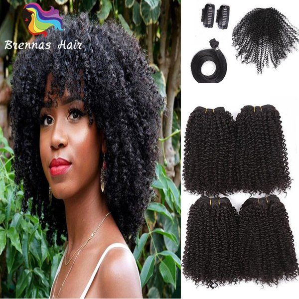 12-16inch Brazilian Curly Synthetic Hair Weave Bundles Sewing in Hair Extensions with Closure clip hair afro kinky curly One Pack Full Head