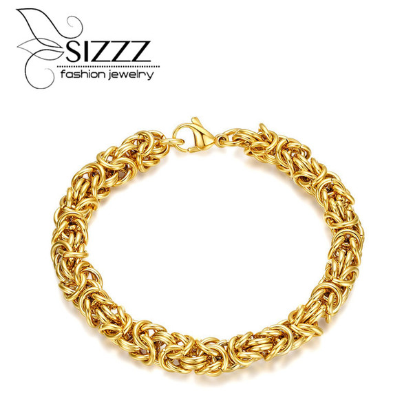 SIZZZ Electroplated gold handmade stainless steel interlocking bracelet&bangles for men
