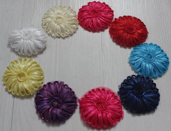 10y/100pcs 2.5 inch polyester tulle mesh fabric flower trim for children's accessories,hair clip flowers,girls headband flowers