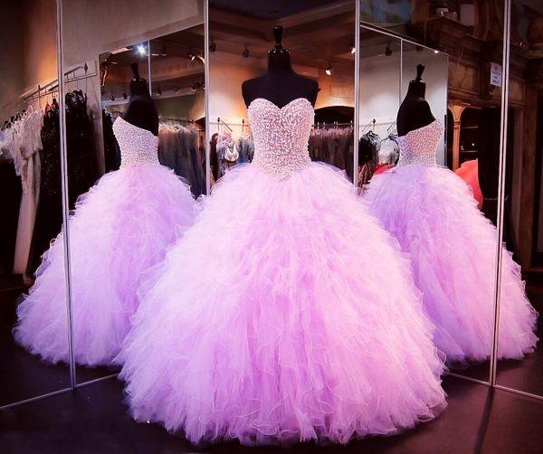 Luxus Perlen Prinzessin Feather Quinceanera Kleider Vintage Schatz Sparkly Kristalle bodenlangen Cascading Rüschen 16 süße Kleider DH461