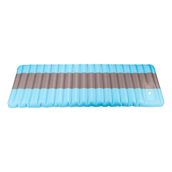 80D Polyester Pongee Compound PVC Press Inflating Camping Sleeping Pad Mat Air Mattress Blue with Patch Kit US Shipping