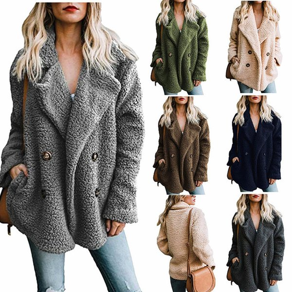 best selling Women's Fashion Long Sleeve Lapel Button Up Faux Shearling Shaggy Oversized Coat Jacket with Pockets Warm Winter