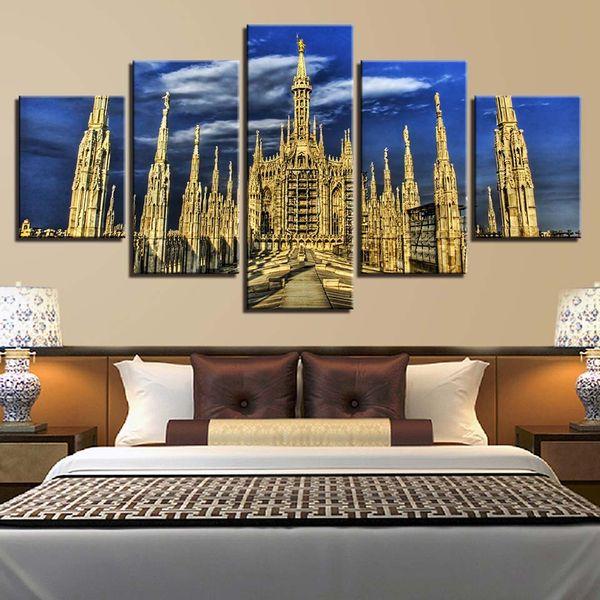 Tuval Baskılar Resimleri Ev Dekorasyon Oturma Odası Duvar Sanatı 5 Parça Gotik Catedral Gotica Resimleri Peyzaj Posteri ...