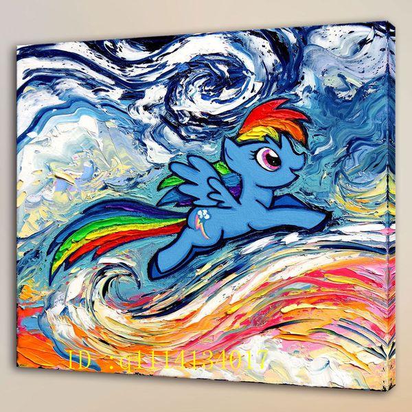 Van Gogh Rainbow Pony,HD Canvas Prints Wall Art Oil Painting Home Decor /(Unframed/Framed )