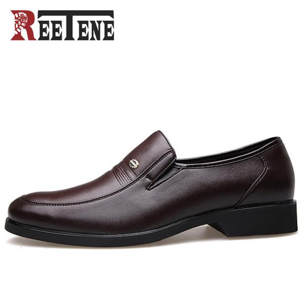 REETENE Fashion Business Dress Men Shoes 2018 New Classic Leather Men'S Suits Shoes Fashion Slip On Dress Shoes Men Flats