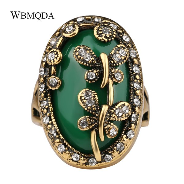 Bohemian Jewelry Vintage Crystal Dragonfly Ring 4 Colors Big Stone Rings For Women Turkish Gold Jewellery Free Shipping