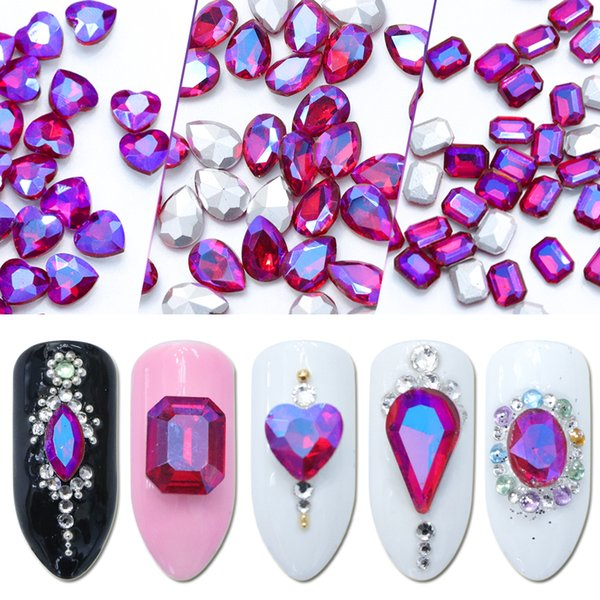 10pcs AB Rhinestones for Nail Art Flame Red Manicure Decoration Iridescent Mixed Shaped Strass 3D Gems Crystal Accessories JI053