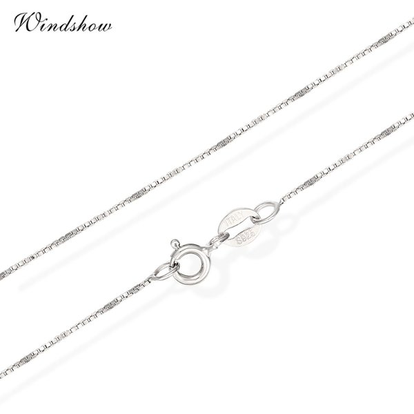 6 Sizes Available Real 925 Sterling Silver Slim Box Chain Necklace Womens Mens Kids 35/40/45/50/60/80cm Jewelry kolye collares