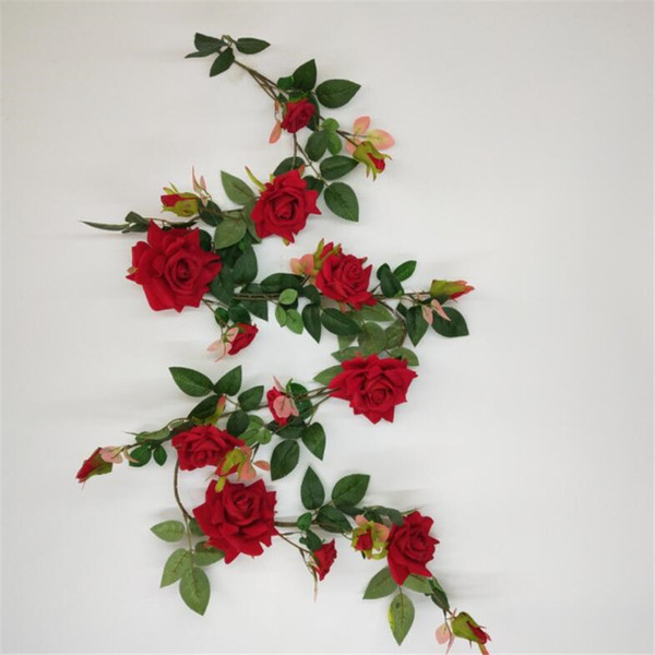 two rose flower vine artificial red velvet rose vines wall mounted flowers hanging flowers for wall decoration