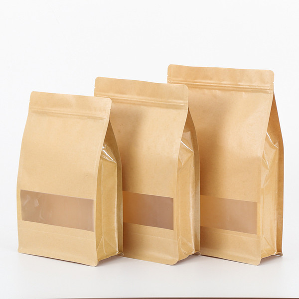 Food Nuts Candy Packaging BagsFood Moisture-proof Bags Snack Cookie Pouch Ziplock Packing Bag Kraft Paper Bag with Clear Window for Dried