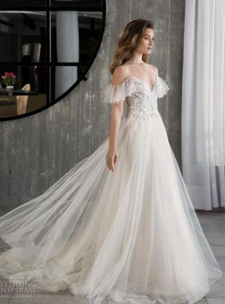 2019 luxury wedding dress high-end Gorgeous wedding dresssA lineSoft gauze, passion elegant, embroidery handmade066