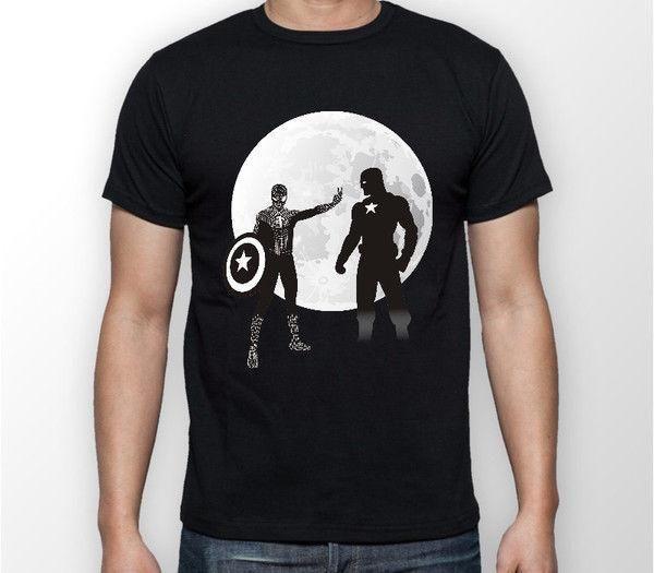 Maglietta T-Shirt Unisex Spiderman VS Captain America Moon Civil War Tee T-Shirt TUTTI TAGLIE Top Tee 100% Cotone Humor Uomo Girocollo Tee Shirts