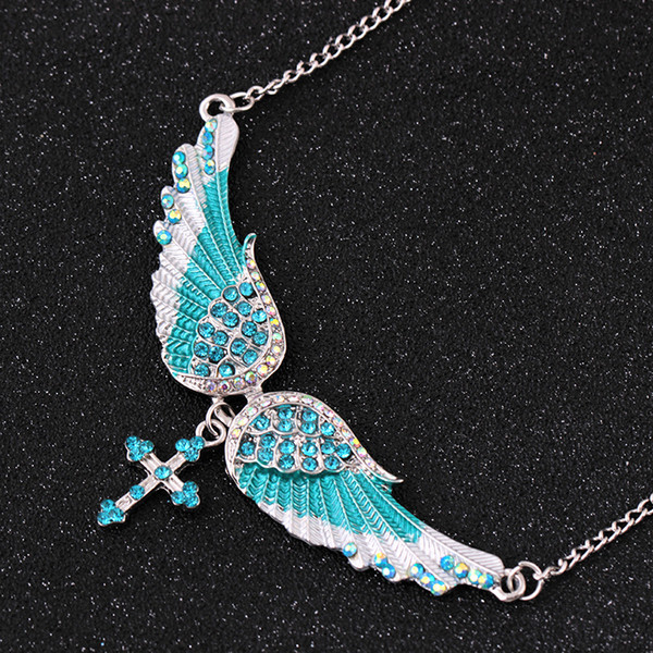 Angel Wing Halskette Damen Nachahmung Kristall Choker Halskette Guardian Frauen Biker Kristall Schmuck Geschenke ihr Mädchen Kreuz Halskette