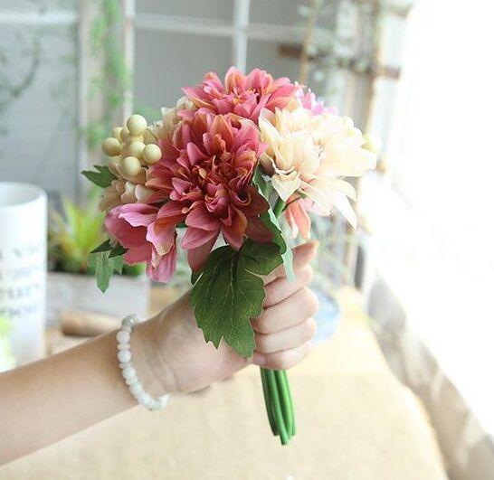 Hot Sale Artificial Dahlia flower berry silk fake flower wreath wedding & home decor simulation flowerChristmas decorations