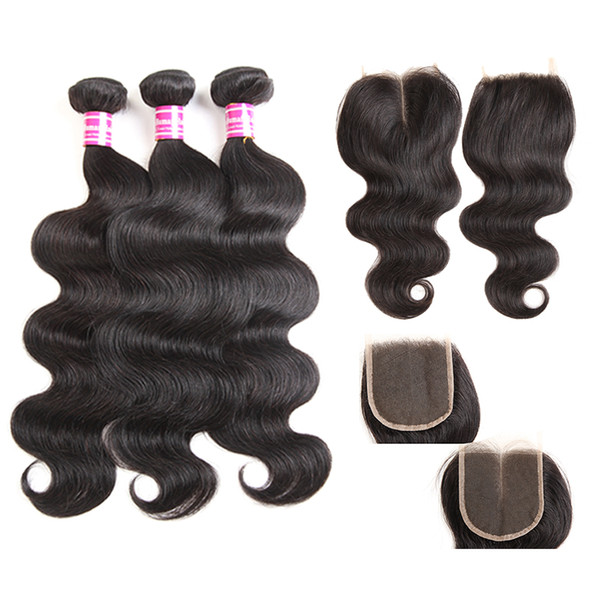 body brazilian virgin human hair top lace closure middle free part 4x4 with cheap 3 bundle human hair weave 8-26 inch