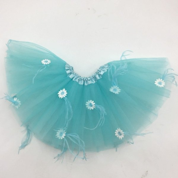 2018 Latest Arrival Wholesale Exquisite Flower Embroidery Kids Tutu Skirts Princess Mint Feather Girl Party Skirt