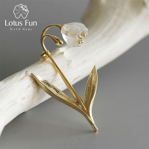 Lotus Fun Real 925 Plata Esterlina Joyería Hecha A Mano de Cristal Natural Lirio de los valles Broches de Flores para Mujeres Brincos