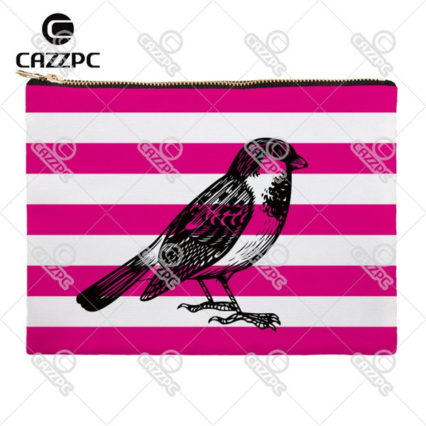 Rose Pink Blue Stripe Bird Owl Parrot Canvas Pattern Print Cosmetic Bag Makeup Pouch Wristlet Hand Bag