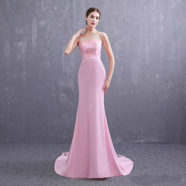 New pattern 2019 Simple Pink girl Strapless A-line Prom Dress Lace Floor Length Party Dress Real Photos Custom Made Sexy Long leeve