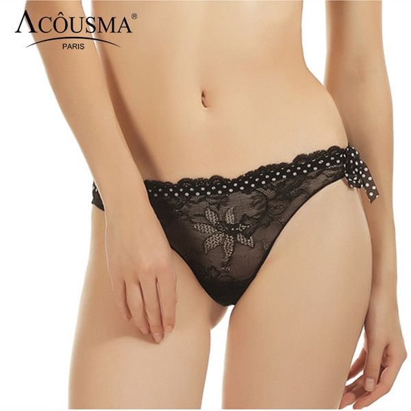 ACOUSMA Women G-String Floral Lace Panties Vintage Polka Dot Sexy Transparent T Back Thongs Seamless Female Underwear Black Red