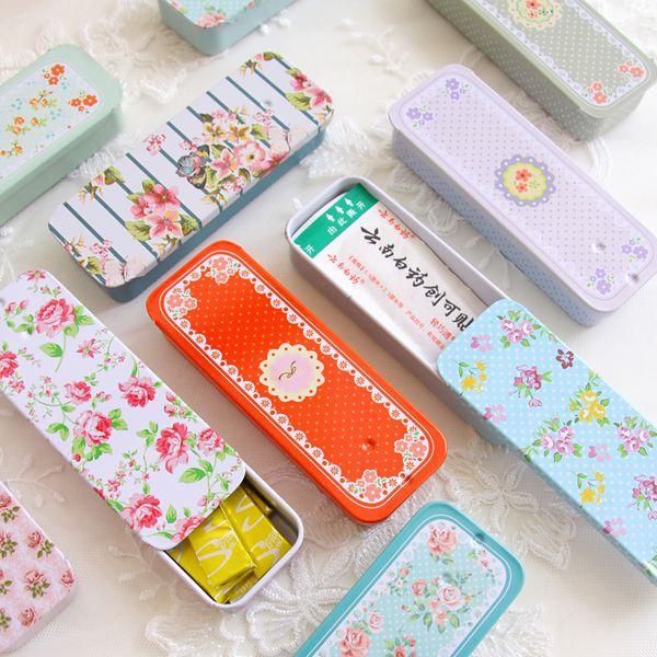 Creative Rectangular Slide Cover Mini Tin Box Jewelry Pill Storage Box Portable Iron Boxes Container Gift Tin Case