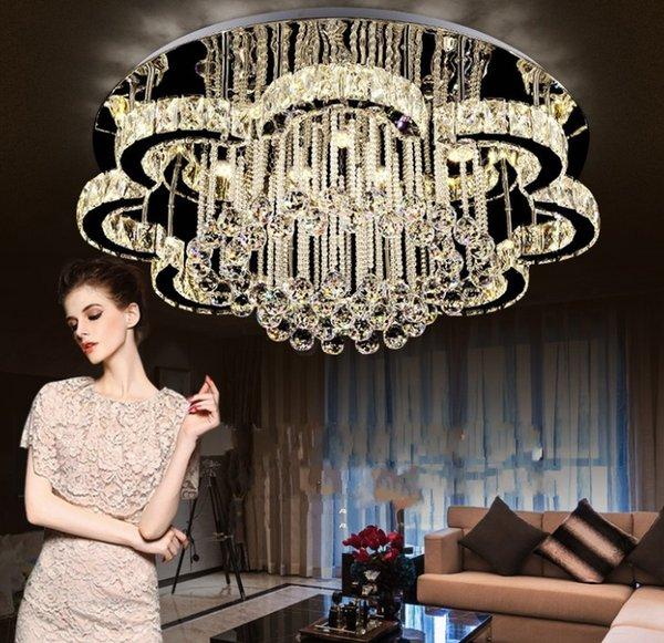 LED Modern Stainless Steel Crystal LED Lamp LED Light Ceiling Lights.LED Ceiling Light Ceiling Lamp For Foyer Bedroom LLFA