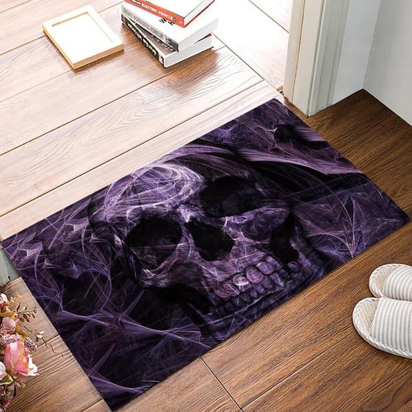 Abstract Mystic Purple Skull Door Mats Kitchen Floor Bath Entrance Rug Mat Absorbent Indoor Bathroom Rubber Non Slip