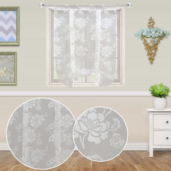 Flying Burnout color tulle curtain flower color designs for kitchen window and home window