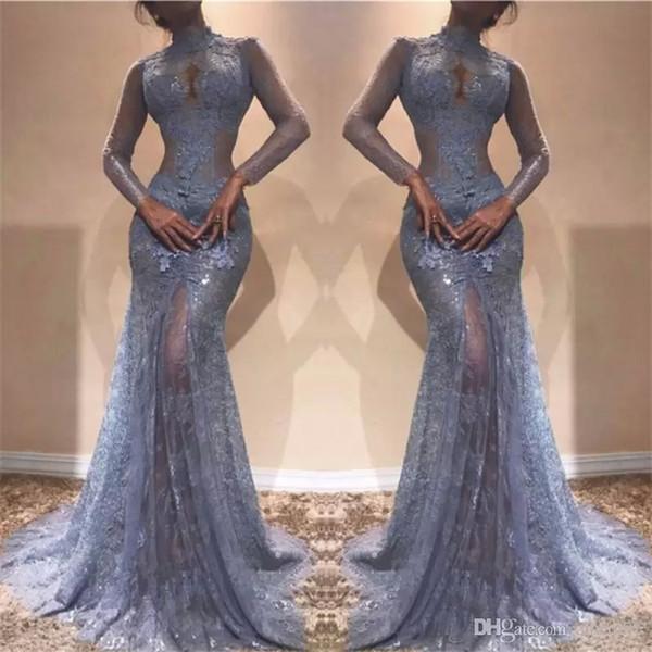 Magnifique Zuhair Murad robes de soirée en dentelle pleine 2018 col haut sirène illusion manches longues voir à travers robes de bal robe de soirée lavande