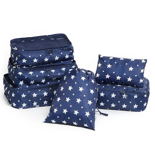 6 Pieces Pentagram Print Storage Bag Set Travel Storage Bag Set For Clothes Tidy Organizer Pouch Suitcase Handbag Home Closet Divider Drawer