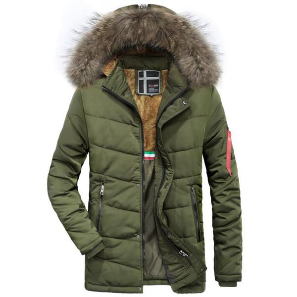 Großhandel 2018 Winter Langen Mantel Männer Pelz Kapuze Warmen Trenchcoat Taktische Bomber Armee Outwear Parkas Herren Marke Verdicken Plus Samtmantel