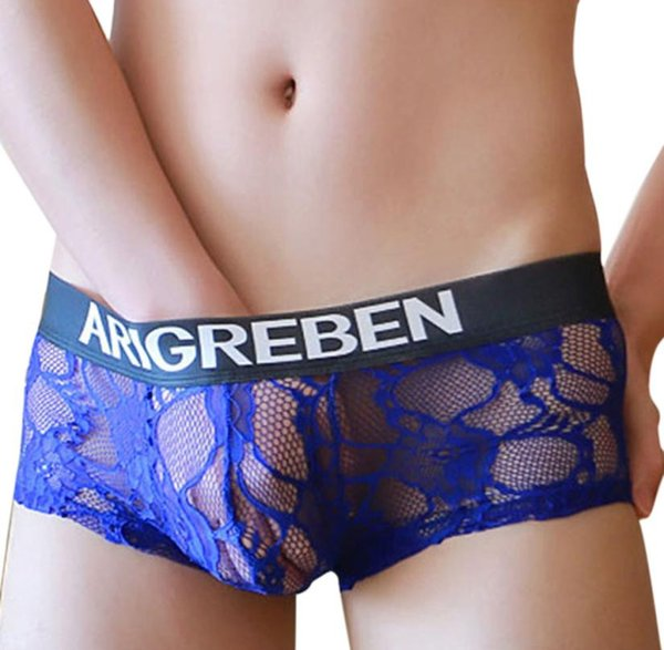 Hot Men's Mid-Rise Sexy Lace Ultra-Thin Yarn Seamless Transparent Breathable Comfortable Uderwear Underpant gay sexy underwear